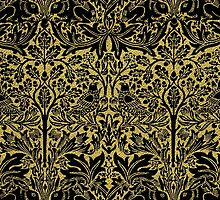 William Morris Rabbit and Bird Gold and Black by Pixelchicken