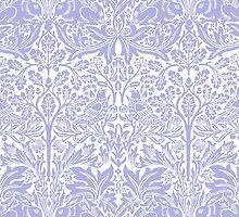 William Morris Rabbit and Bird Blue and White by Pixelchicken