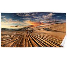 Dubai desert with beautiful sandunes during the sunrise Poster