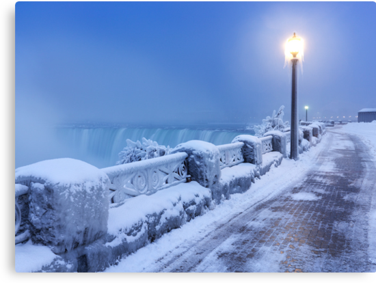 Niagara Falls city wintertime scenery art photo print by ArtNudePhotos