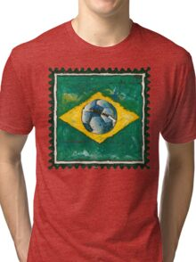 Brazilian flag with ball in grunge style Tri-blend T-Shirt