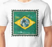 Brazilian flag with ball in grunge style Unisex T-Shirt