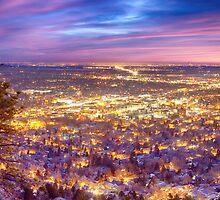 Downtown Boulder Colorado City Lights Sunrise by Bo Insogna