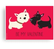 Be My Valentine – Westie & Scottie Canvas Print