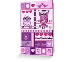 Owls, Love birds, Patterns Valentine's day text card Greeting Card