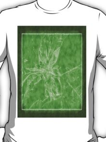 Pale Yellow Poinsettia 1 Outlined Green T-Shirt