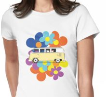 VW Flower Camper Womens Fitted T-Shirt