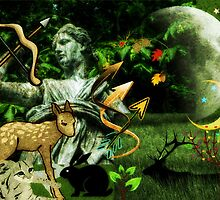 Diana, the goddess of Nature, the Hunt, Fertility, Childbirth and the Moon (month of August) by Jane Neill-Hancock