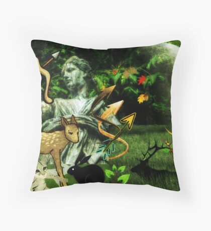 Diana, the goddess of Nature, the Hunt, Fertility, Childbirth and the Moon (month of August) Throw Pillow