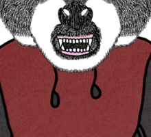 Illustration/Digital artwork of a Raccoon that is wearing a Red/Grey coloured Hoody Sticker