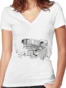 COMPUTER OFFICE WORKER Women's Fitted V-Neck T-Shirt
