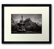 Edinburgh castle and Ross fountain B&W Framed Print