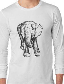 Elephant Sketch (Dark) Long Sleeve T-Shirt
