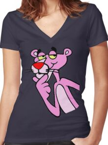 Pink Panther Women's Fitted V-Neck T-Shirt