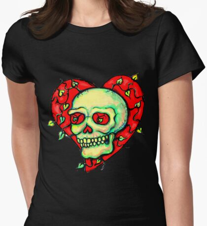 Skeleton Heart with Vines Womens Fitted T-Shirt