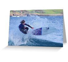 Surfing Action Greeting Card
