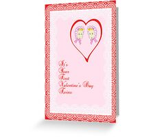 First Valentine's Day Card for Twin Girls  Greeting Card