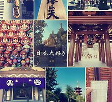 Kawasaki Daishi Buddhist Temple Japan Vintage Collage by Beverly Claire Kaiya