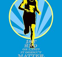 Marathon Runner First Retro Poster by patrimonio