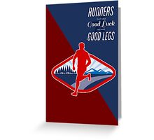 Cross Country Runner Retro Poster Greeting Card