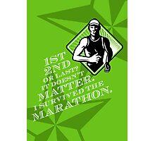 Male Marathon Runner Retro Poster Photographic Print