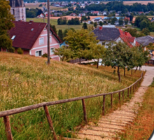Stairway to the village center | landscape photography Sticker