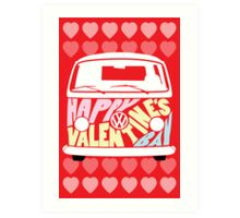 Valentine's Day VW Camper Bay Hearts Art Print
