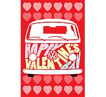 Valentine's Day VW Camper Bay Hearts Photographic Print