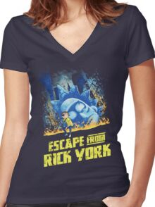 Rick and Morty Escape From Rick York Women's Fitted V-Neck T-Shirt