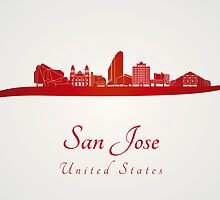 San Jose skyline in red by paulrommer