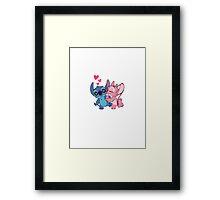 Stitch and Angel <3 Framed Print
