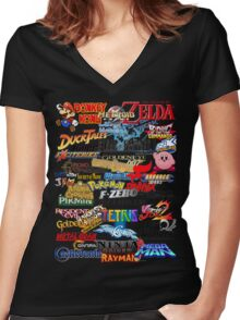 Retro Nintendo Titles  Women's Fitted V-Neck T-Shirt