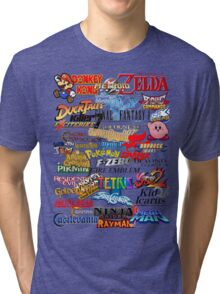 Retro Nintendo Titles  Tri-blend T-Shirt