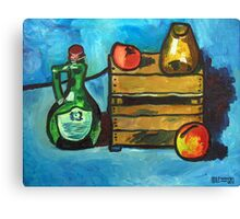 Bottle, Crate, and Fruit Canvas Print