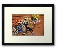 Yellow Bicycle with Baskets of Flowers Framed Print