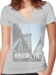 Brooklyn, New York Women's Fitted V-Neck T-Shirt