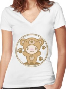 The stuffed toy of the bear Women's Fitted V-Neck T-Shirt