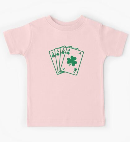 Poker cards shamrocks Kids Tee
