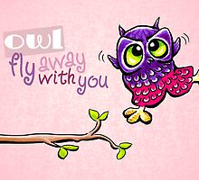 Owl Fly Away Valentines Day by offleashart