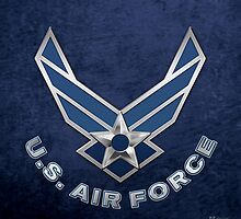 U.S. Air Force - USAF Logo 3D on Blue Velvet by Captain7