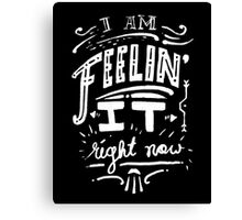 I am feeling it right now. Canvas Print