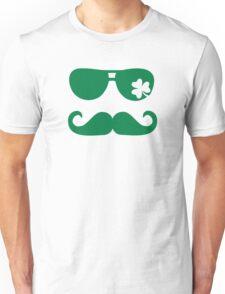 Irish sunglasses mustache shamrock Unisex T-Shirt