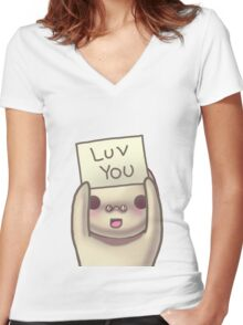 Luv You Women's Fitted V-Neck T-Shirt