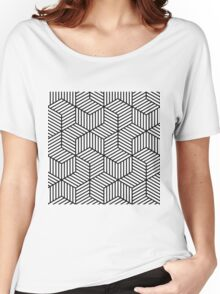 Black and White Geometric Pattern Women's Relaxed Fit T-Shirt