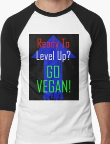 Ready To Level Up? GO VEGAN! Men's Baseball ¾ T-Shirt