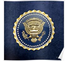 Presidential Service Badge - PSB 3D on Blue Velvet Poster
