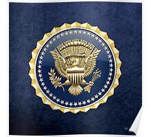 Presidential Service Badge - PSB 3D on Blue Velvet Poster