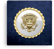 Vice Presidential Service Badge 3D on Blue Velvet Canvas Print