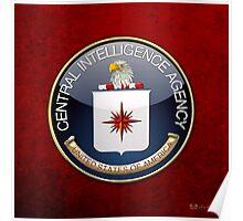 Central Intelligence Agency - CIA Emblem 3D on Red Velvet Poster