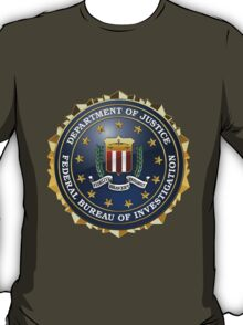 Federal Bureau of Investigation - FBI Emblem 3D on Red Velvet T-Shirt